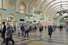 莫斯科,俄罗斯- 17 06 2015年 Kazansky火车站内部  在1862年修造 库存图片