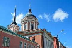 莫斯科,圣约翰教会在榆木1825-1837,新的正方形, 10下的神学家 片段 库存照片