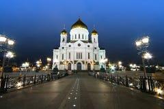 莫斯科,基督大教堂救主在晚上 免版税库存照片