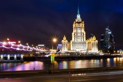 莫斯科,旅馆乌克兰夜视图  图库摄影
