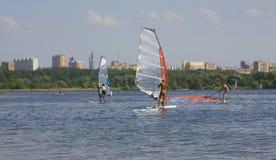 莫斯科,风帆冲浪 免版税图库摄影