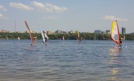 莫斯科,风帆冲浪 免版税库存照片