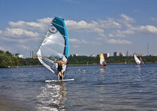 莫斯科,风帆冲浪 免版税库存图片