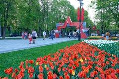 莫斯科, 2018年5月, 9日:伟大胜利5月9日假日红色星装饰和花田在大门对城市停放Ostankin 免版税库存图片