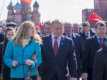莫斯科, RUSSIA-APRIL 12 :俄罗斯的党的领导Kommunistov 免版税库存图片