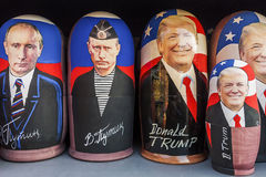 莫斯科, RUSSIA-DECEMBER 17日2017年:俄国传统玩具- Matr 免版税库存照片