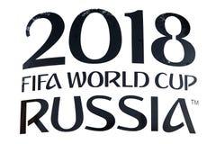 莫斯科, RUSSIA-FEBRUARY 1日2018年:在一张海报的题字在t 免版税库存照片