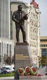 莫斯科, RUSSIA/SEPTEMBER 20,2017 :对设计师米哈伊尔・季莫费耶维奇・卡拉什尼科夫,卡拉什尼科夫攻击步枪的创作者的纪念碑 免版税图库摄影
