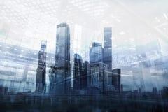 莫斯科-城市商业中心大厦 企业和财务概念的两次曝光背景 免版税图库摄影