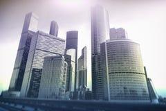 莫斯科-城市商业中心大厦 企业和财务概念的两次曝光背景 图库摄影