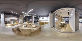 莫斯科- 2018年:家具现代购物中心的设计商店美好的时兴的内部与顶楼内部 与dar的水泥地板 免版税库存照片