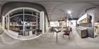 莫斯科- 2018年:家具现代购物中心的设计商店美好的时兴的内部与顶楼内部 与dar的水泥地板 图库摄影