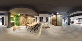 莫斯科- 2018年:家具现代购物中心的设计商店美好的时兴的内部与顶楼内部 与dar的水泥地板 库存照片
