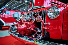 莫斯科- 2018年3月09日:福特798T 1947在陈列的消防车 免版税图库摄影