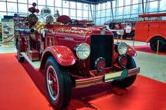莫斯科- 2018年3月09日:REO 1929在陈列Oldti的消防车 图库摄影