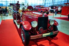 莫斯科- 2018年3月09日:REO 1929在陈列Oldti的消防车 免版税库存图片