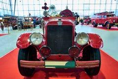 莫斯科- 2018年3月09日:REO 1929在陈列Oldti的消防车 库存照片