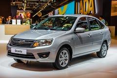 莫斯科- 2016年8月:VAZ 2191 LADA Granta被提出在2016年8月20日的MIAS莫斯科国际汽车沙龙在莫斯科,拉斯 库存照片