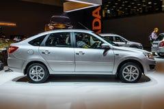 莫斯科- 2016年8月:VAZ 2191 LADA Granta被提出在2016年8月20日的MIAS莫斯科国际汽车沙龙在莫斯科,拉斯 免版税图库摄影