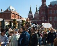 莫斯科9月2017年,俄罗斯 在节日期间,在Manege的庆祝摆正 库存图片
