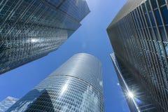 莫斯科- 2017年6月08日:莫斯科城市摩天大楼广角看法  大厦商业现代 免版税库存图片