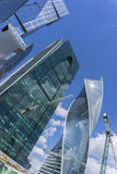 莫斯科- 2017年6月08日:莫斯科城市摩天大楼广角看法  大厦商业现代 图库摄影