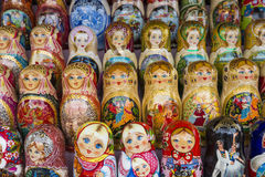 莫斯科- 6月04 :非常如此matryoshkas俄语的大选择 免版税库存图片