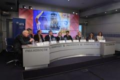 新闻会议2013欧洲艺术性的体操 免版税库存照片