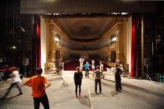 演员在Yauza的宫殿排练 免版税库存图片