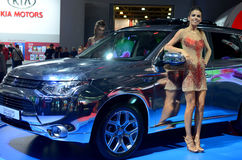 莫斯科- 29 08 2014 - 汽车陈列莫斯科国际汽车沙龙 免版税图库摄影