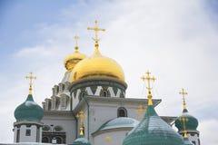 莫斯科 2007第23个耶路撒冷6月修道院新的俄国 复活大教堂的圆顶 免版税图库摄影