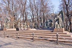 莫斯科 雕塑孩子是成人恶习的受害者 库存照片