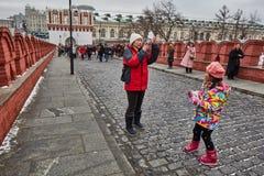 莫斯科- 15 04 2017年:克里姆林宫,冬时 库存照片