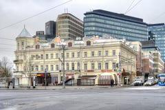 莫斯科 backgr的老前革命商人` s房子 库存图片