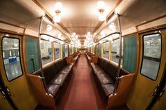 莫斯科` s地铁减速火箭的火车内部1934年 2017年6月10日 莫斯科 俄国 免版税库存照片