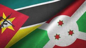 莫桑比克和布隆迪两旗子纺织品布料,织品纹理 库存例证