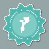 莫桑比克在时髦颜色的地图贴纸 免版税库存图片