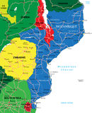 莫桑比克地图 免版税库存图片