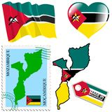 莫桑比克的全国颜色 免版税库存照片