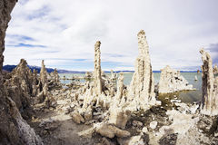 莫诺湖状态凝灰岩自然储备在加利福尼亚 免版税库存照片