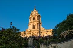 莫迪卡,西西里岛圣乔治大教堂的门面  库存图片