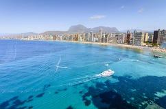 莱万特海滩在贝尼多姆,南西班牙 免版税库存图片