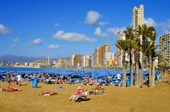 莱万特海滩,在贝尼多姆,西班牙 免版税库存图片