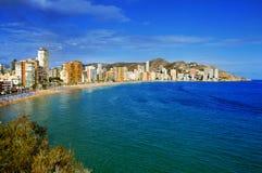 莱万特海滩,在贝尼多姆,西班牙 库存图片