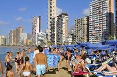 莱万特海滩,在贝尼多姆,西班牙 图库摄影