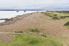 莱佩海滩– WWII桑树的发射地点怀有。 免版税库存照片