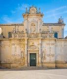 莱切大教堂,普利亚,南意大利 免版税库存图片