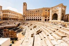 莱切,意大利罗马圆形剧场  免版税库存图片