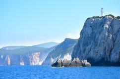 莱夫卡斯州海岛,希腊 灯塔塔 免版税库存照片