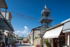 莱夫卡斯州镇,希腊2014年7月17日:中世纪教会在莱夫卡斯州镇,希腊 库存照片